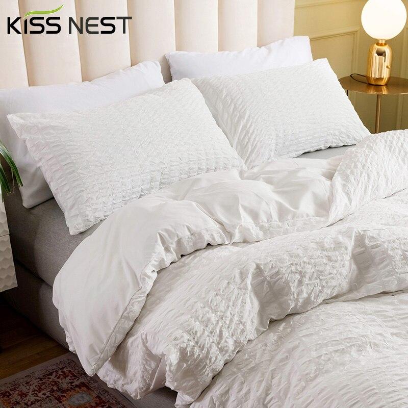 طقم أغطية سرير من القماش القطني القطني ، جودة عالية ، بسيط ، لون نقي ، 2-3 مجموعات من الفراش ، أغطية سرير إسكندنافية 150 ، غطاء لحاف 200x200 240x220