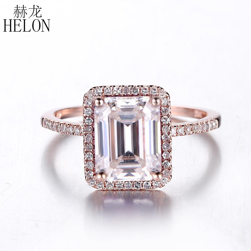 2.6 quilates moissanite anel sólido 14 k rosa ouro anel de noivado esmeralda corte laboratório crescido diamante anel de casamento para presente de jóias femininas