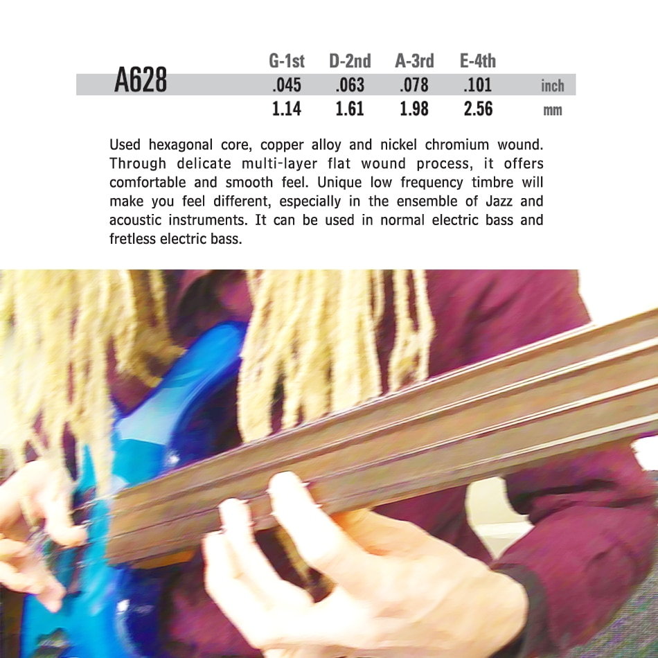 Alice A628 Fretless 4 Electric Bass Strings Full Set 4 Strings Hexagonal Core Nickel Alloy Wound Gold Ball-End enlarge
