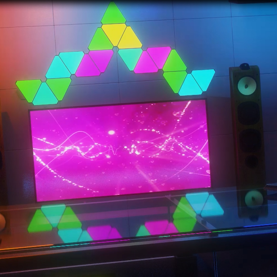 Triangle Lights RGB Colorful Wall-Mounted LED Light APP Controllable Triangle Gaming Lights Perfect Decor for Room, Living Room enlarge