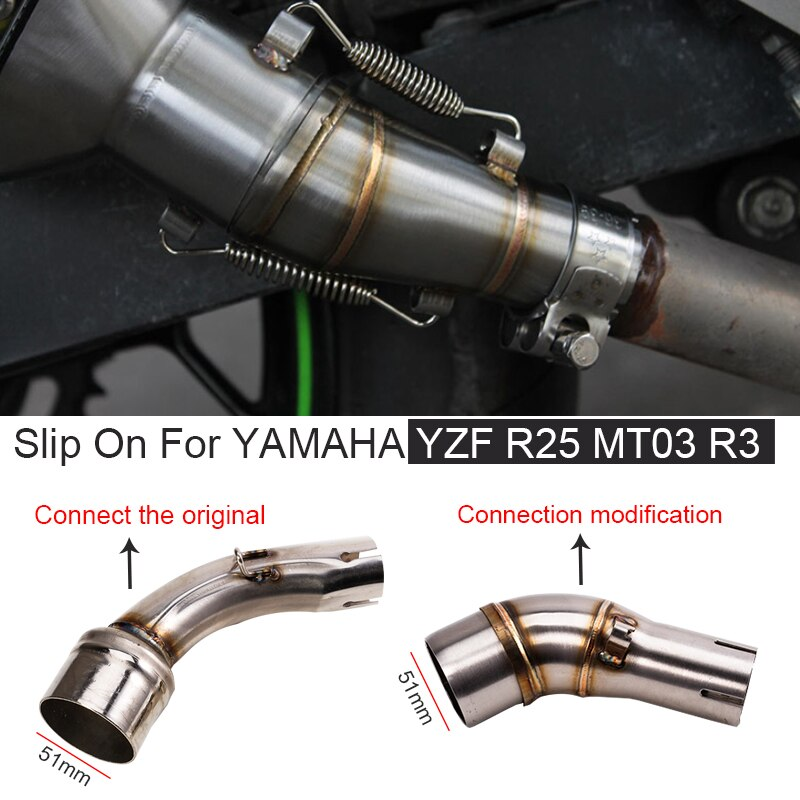 Motorcycle Exhaust System Modified Middle Link Pipe Connect the original Muffler Slip On For YAMAHA YZF R25 MT03 R3 MT 03
