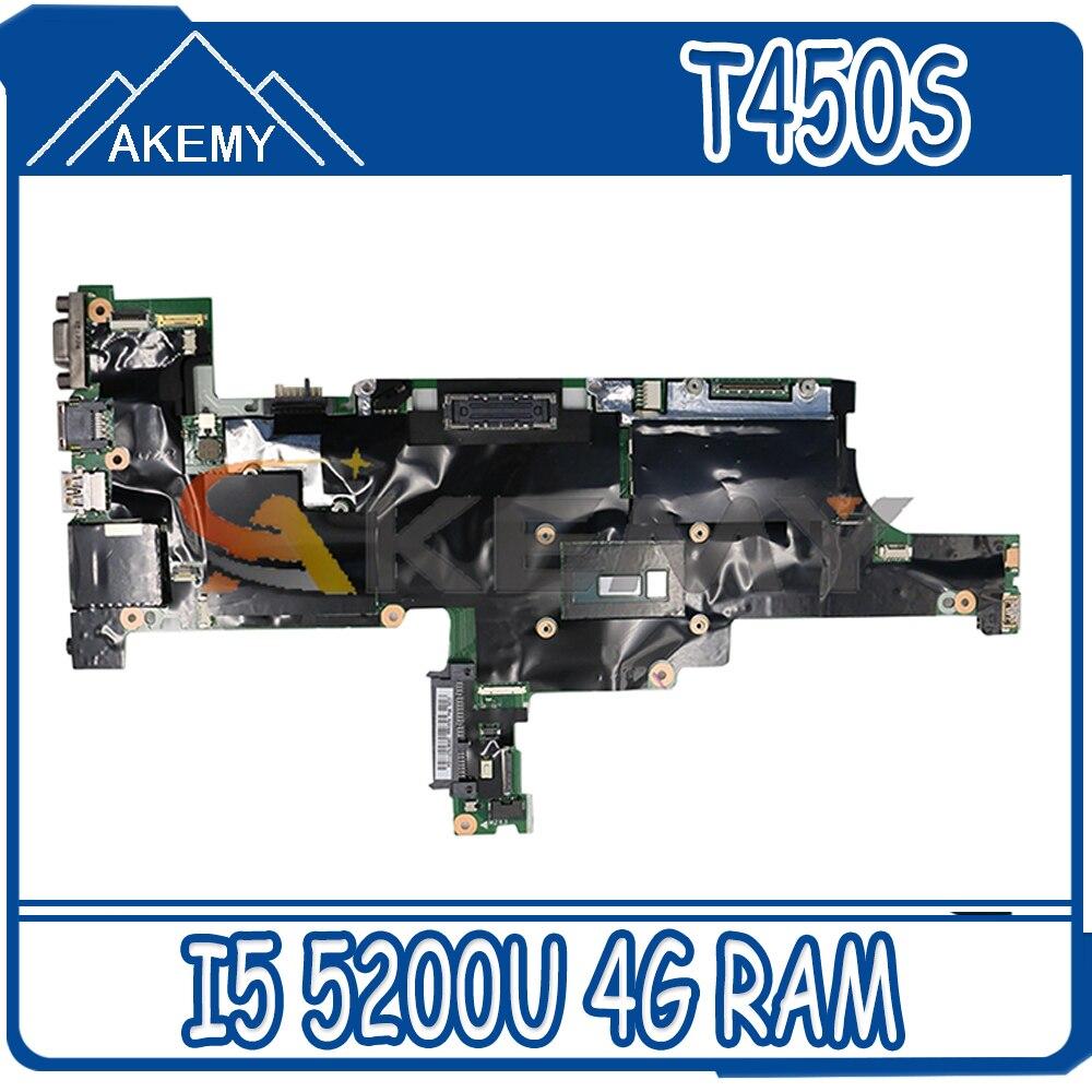 Akemy ايم t1 NM-A301 لينوفو ثينك باد T450S الكمبيوتر المحمول اللوحة CPU I5 5200U 4G RAM اختبار العمل FRU 00HT736 00HT737 00HT738