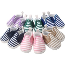 18 Inch Girls Doll American Shoes Casual Stripe Flat Sports Shoes Sneakers Canvas Baby Toys Fit 43 C