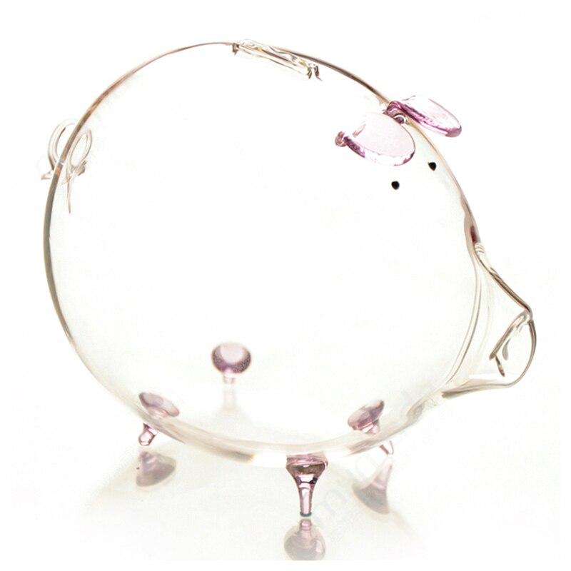 Hucha de cerdo, hucha, caja para guardar monedas, bonito recuerdo de cristal transparente, regalo de cumpleaños para niños, Rosa