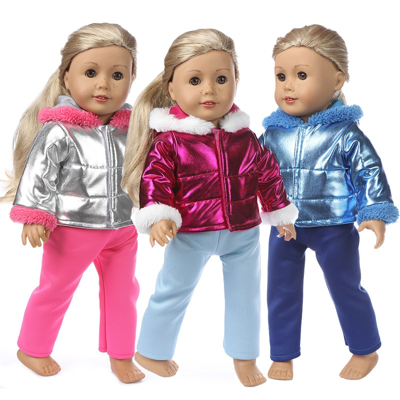 Fit 17 inch American Baby New Born Girl Doll Clothes Accessories 43cm Winter Plush Down Jacket Suit