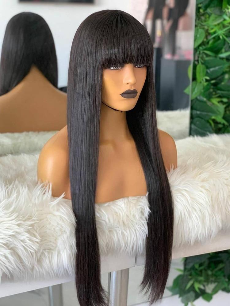 layered tail adduction long oblique bang siv human hair wig Bang Wig With Bangs Short Bob Wig Human Hair Wigs For Black Women Cheap Brazilian Hair Straight Black 30 Inch Long Fringe Wig