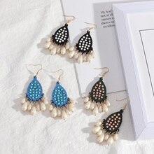 Boucles doreilles en bois goutte deau acrylique paillettes goutte deau perle glands boucles doreilles pour les femmes mode célèbre marque bijoux de créateur