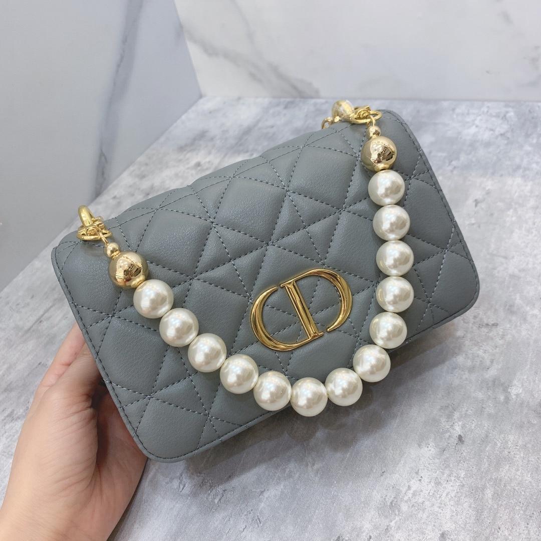 Mini Pearl chain leather handbag 2021 spring ladies handbag Europe station shoulder messenger bag fashion Joker
