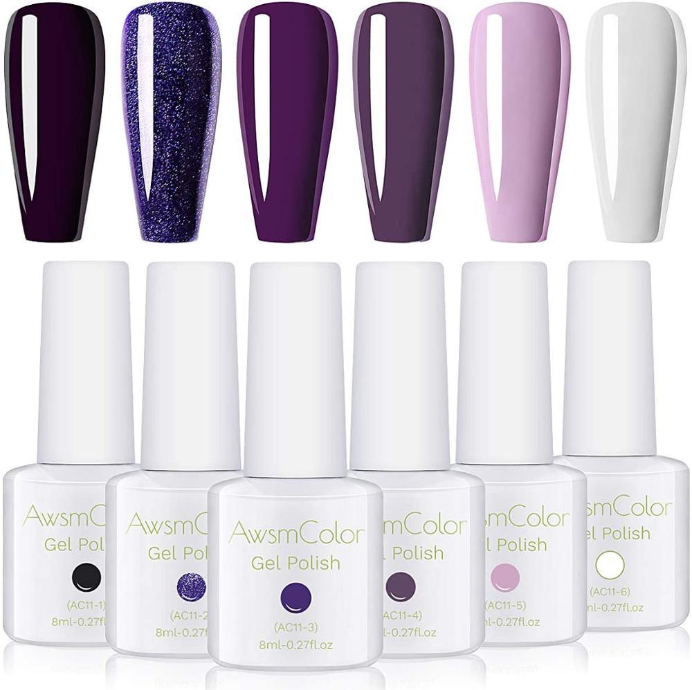 AwsmColor Gel Nail Polish Set, Purple Gel Nail Polish Kit Pink White UV LED 6 Bottles 8ML Soak Off Nail Gel Polish Set 2020 New