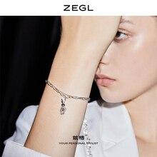 Zegl925 Sterling Silver Vintage Double-Layer Mechanical Rabbit Bracelet Female Ins Special-Interest