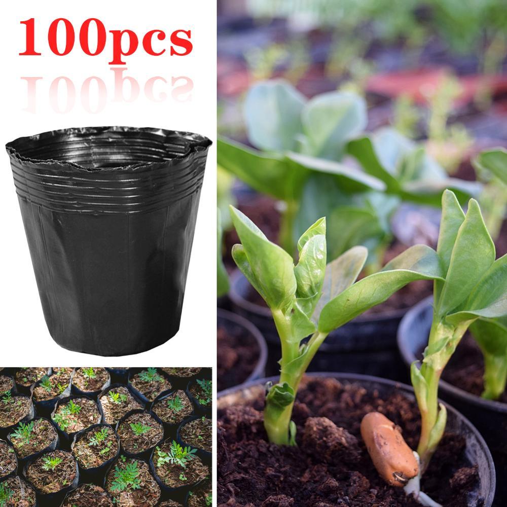100 pçs/set Bandeja de Mudas Potes Berçário Plástico Pote de Mudas De Flores Início Jardim Das Plantas Pot Viveiro Suculenta Vaso