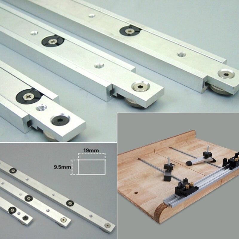 T ranura deslizante Mitra herramienta Bar T pistas de plata de Metal Durable portátil práctico biselado pista empuje madera Hardware límite