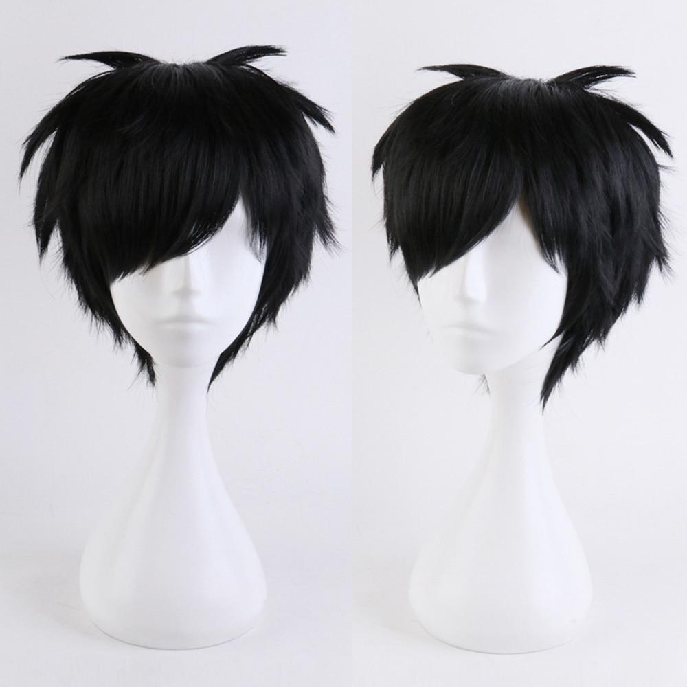 Yuri on Ice Katsuki Yuri Anime Short Black Black Wig Cosplay Costume Heat Resistant Synthetic Hair Wigs for Men + Free Wig Cap