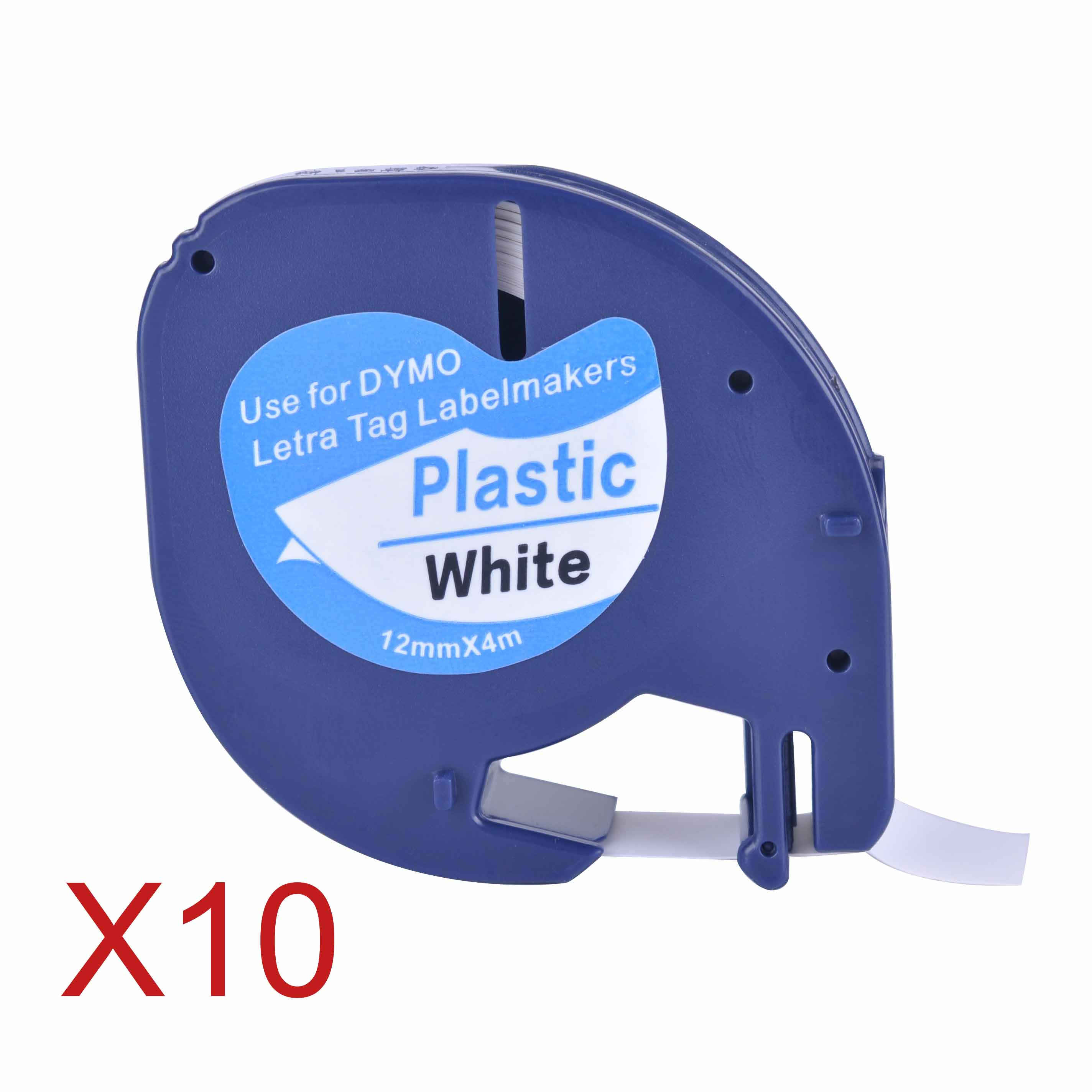 10 Compatible Dymo LetraTag 91201 Black on White (12mm x 4m) Plastic Label Tapes 91201 91221 59422 S0721660