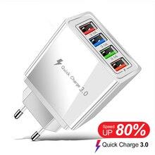 Wall Fast Charger อะแดปเตอร์4USB Quick Charge3.0สำหรับ IPhone12 13 Xiaomi Mix 4แหล่งจ่ายไฟ EU/US เครื่องชาร์จโทรศัพท์มือถือ