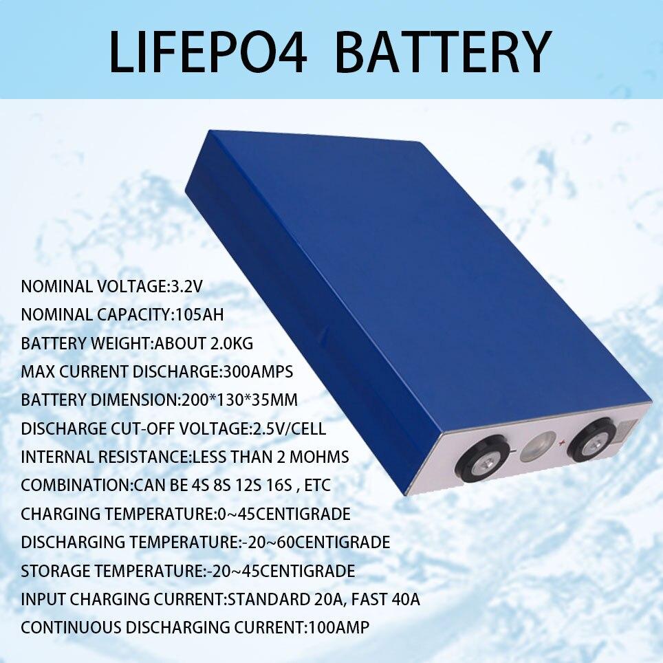16 قطعة 3.2 فولت 105Ah lifepo4 بطارية 3C 300A التفريغ لتقوم بها بنفسك 12 فولت 24 فولت 36 فولت 48 فولت 400Ah بطارية حزمة قارب سكوتر قافلة
