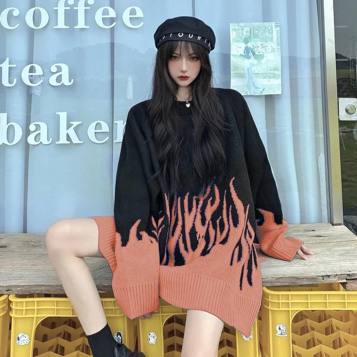 2021 spring new round neck loose sweater female flame jacquard sweater color matching loose ins net red hot selling sweater  5
