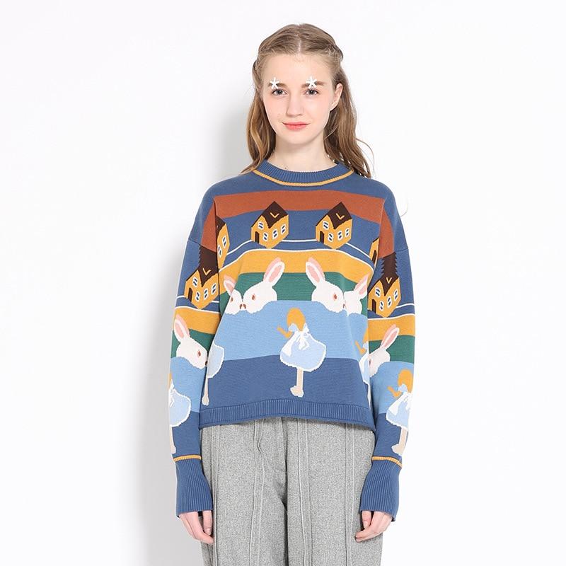 Zoulv 2020 Autumn Outfit Loose Joker Brief Paragraph Cute Sweater New Winter Cartoon Rabbit  Jacquard
