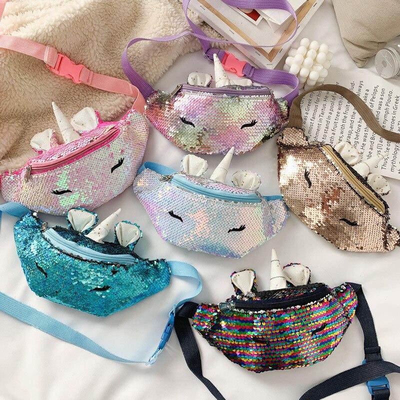 Riñonera de lentejuelas de moda, riñonera para niñas, riñoneras de unicornio para niños, nueva tendencia, bolso de cinturón, bolso de pecho, riñonera para niños