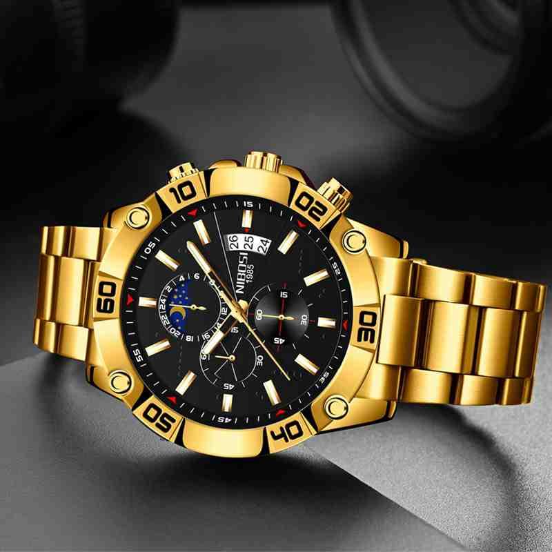 NIBOSI Gold Watch Mens Watches Top Brand Luxury Waterproof Clock Man Military Chronograph Quartz Wat
