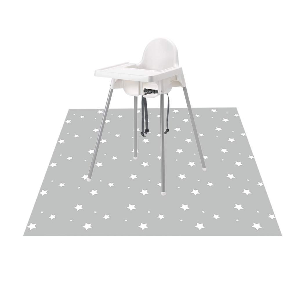 Washable Highchair Splat Floor Mat- Anti-Slip Silicone Spot Splash Mess Mat(52'' X 52'')-Food Catcher Art Craft Leak Proof Mat