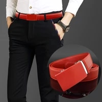 3 5cm belt mens automatic buckle red high quality belt fashion leather white business designer cintos masculinos waist strap