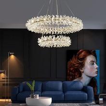 Postmodern Net rouge salon pendentif lumières Restaurant luxe cristal pendentif lampes nordique luciole chambre led suspendus lumières