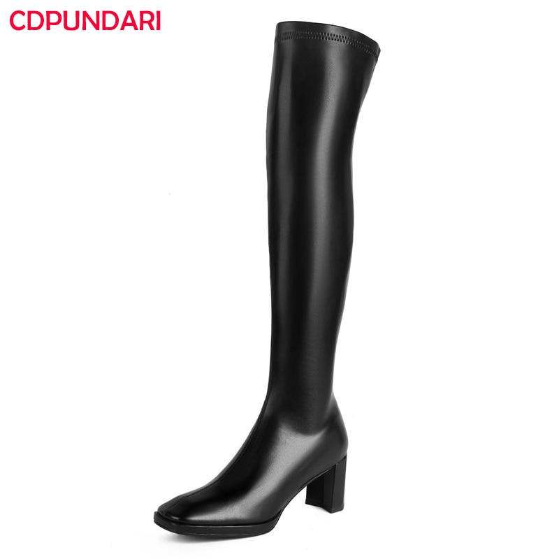 Ladies Sexy Black High Heels Over The Knee Boots Women Autumn Winter Thigh High Long Boots Party Shoes Cuissarde Femme