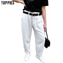 Toppies 2020 jean blanc taille haute Denim sarouel pantalon Boyfriend jean pour femme pantalon ample vaqueros mujer
