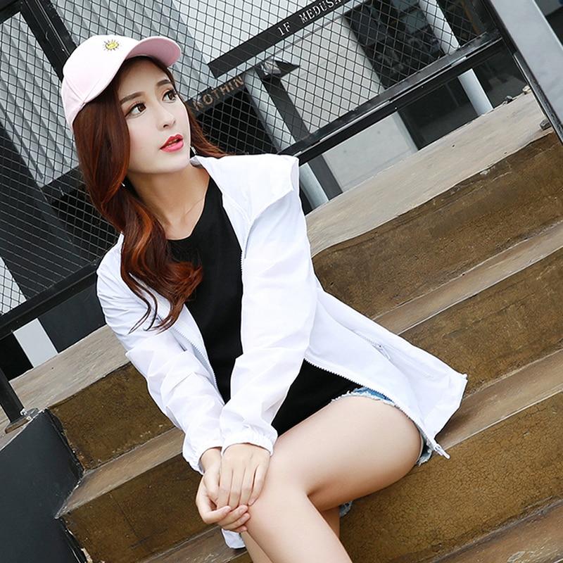 Women Basic Jackets Autumn Hooded Jacket Breathable Sun Protection Coat Female Zipper Pockets Casual Long Sleeves Coats