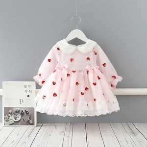 Spring Girls Strawberry Pattern Breathable Lace Edge Mesh Princess Dress Children Lapel Puff Sleeve Bowknot Boutique Long Dress