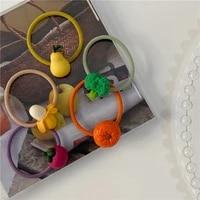 summer fruit season cute color childrens small hair band orange pear pineapple hair band korean rubber band new style