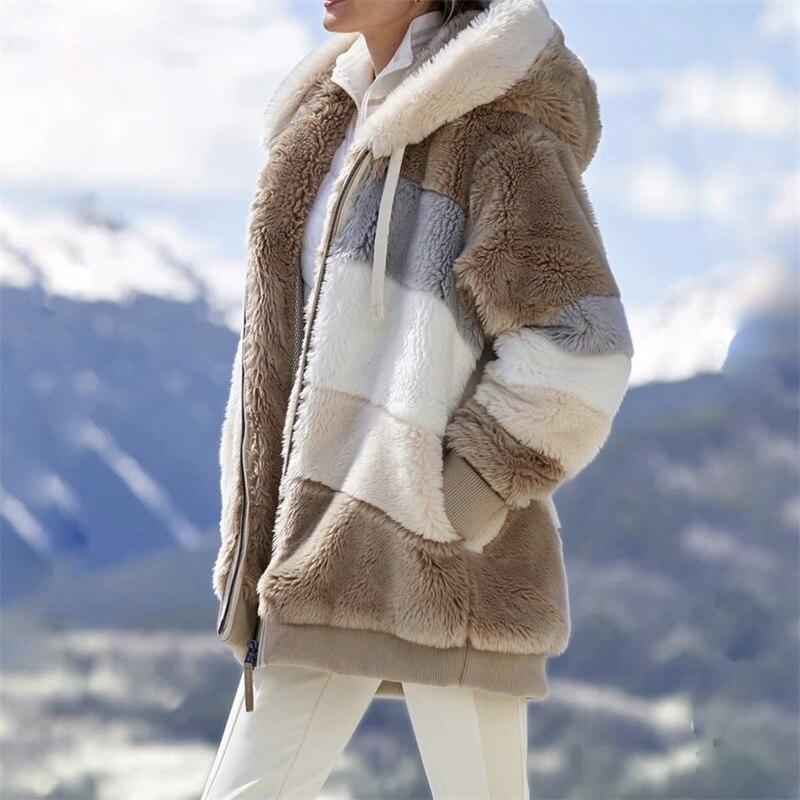 Зимняя женская куртка, теплая плюшевая Повседневная Свободная куртка с капюшоном, разноцветная зимняя верхняя одежда в стиле пэчворк, Женская парка на молнии с искусственным мехом, пальто