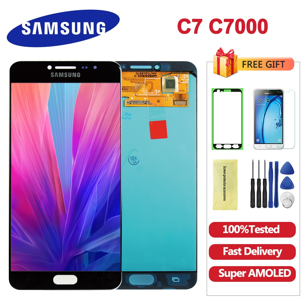 Pantalla LCD Super AMOLED de 5,7 pulgadas para SAMSUNG Galaxy C7, pantalla LCD C7000, reemplazo del digitalizador de pantalla táctil para Samsung C7 LCD