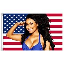 xvggdg 90x150cm Nicki Minaj Rap Sexy USA Flag Music Singer Star Silk Fabric Art Decor Banner