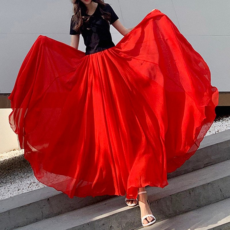2020 プラスサイズ 7XL 8XL 6XL 春と夏の女性の赤シフォン裾エレガントなダンスロング女性のスカートデザインスカートレディース