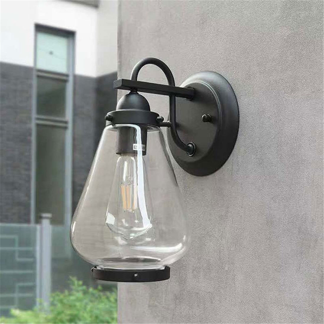 Outdoor Indoor Wall Sconce, Outdoor Light Fixture Wall Mount Matte Black Wall Lantern with Clear Glass Shade for Garage, Doorway enlarge