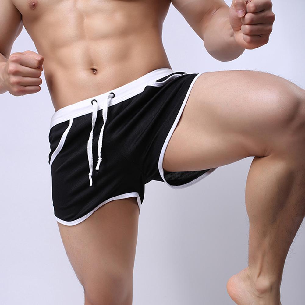 Мужчины цвет блок лето спорт тренажерный зал шнурок шорты пляж брюки плавание плавки