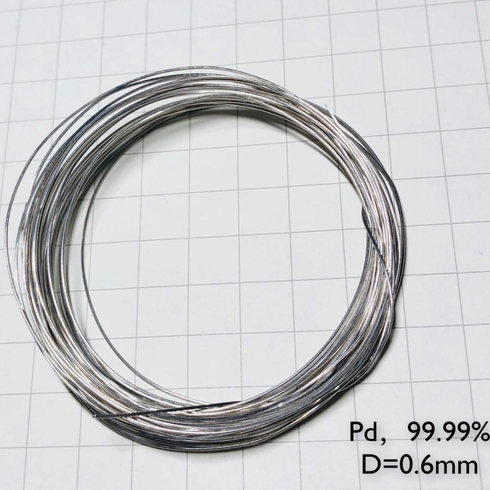 Alambre de metal de paladio 99.99% elemento Pd diámetro puro 0,6mm