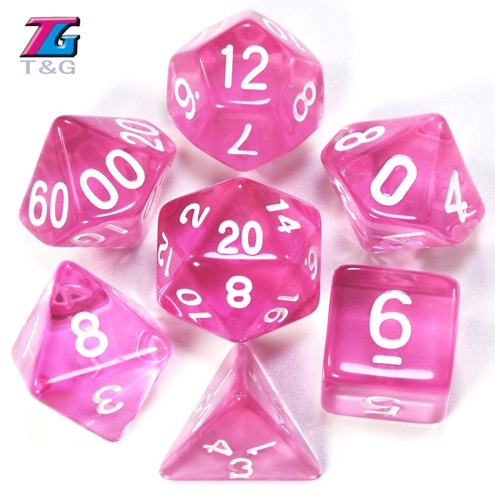 Nieuwe Candy Kleur Roze Dobbelstenen 7 Pcs Voor Dnd Trpg Game Verjaardagscadeau dnd dice dnd game  -