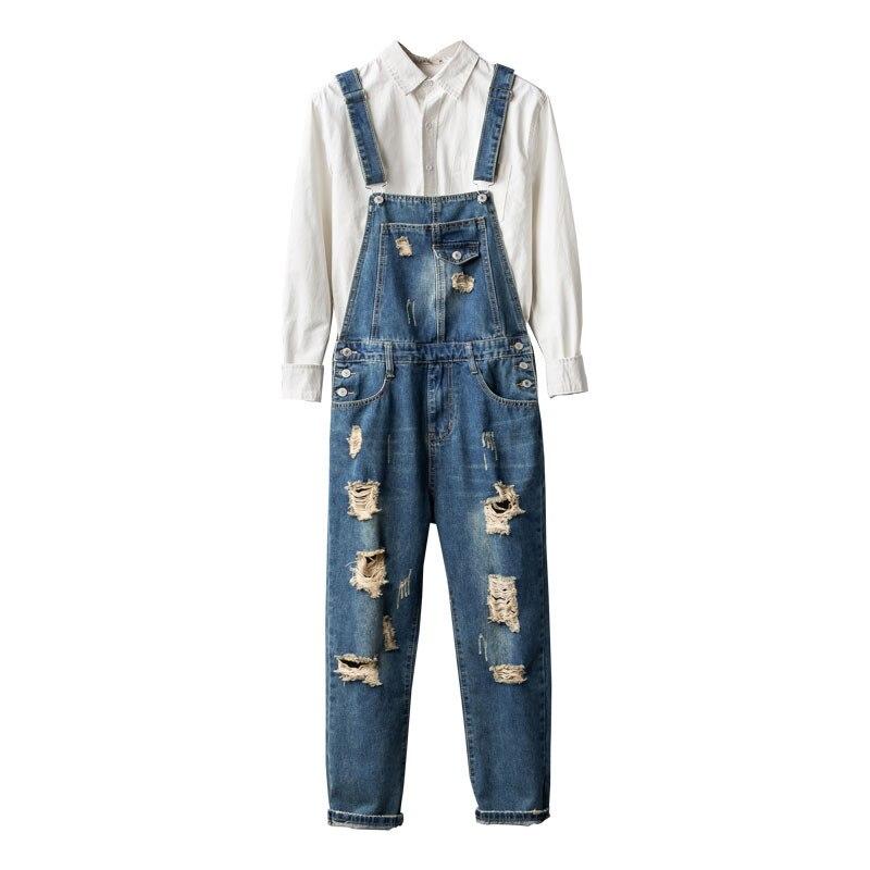 Мужские джинсовые комбинезоны, ретро джинсовые комбинезоны, рваные нищие брюки, мужские сетчатые подтяжки с девятью точками, штаны для ног, ...