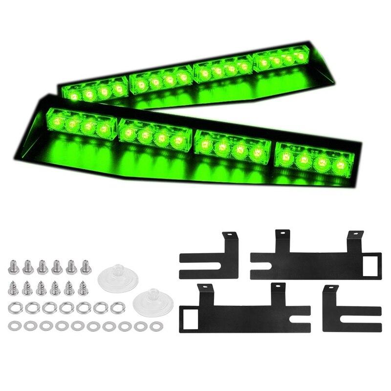 (Verde) 32LED Visor luces 15 patrones de Flash luces estroboscópicas DE EMERGENCIA parabrisas montaje dividido barra de luz cumplimiento de la ley peligro de guerra