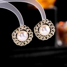 Elegant Crystal Chain Flower Stud Earrings For Women Jewelry 2021 Trend, Cute Simulated Pearl Earing