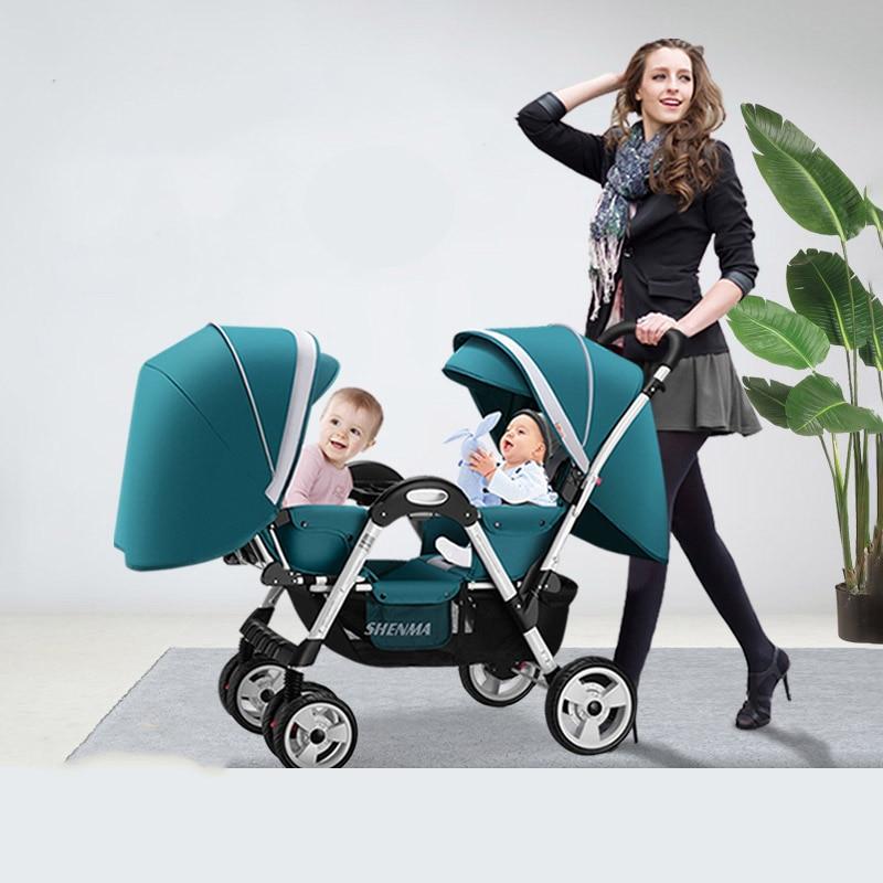 عربة أطفال مزدوجة بأربع عجلات مع ممتص للصدمات ، للطفل ، مقعد مستلق ، تعديل متعدد المدى ، عربة مزدوجة قابلة للطي ، عربات دوللي