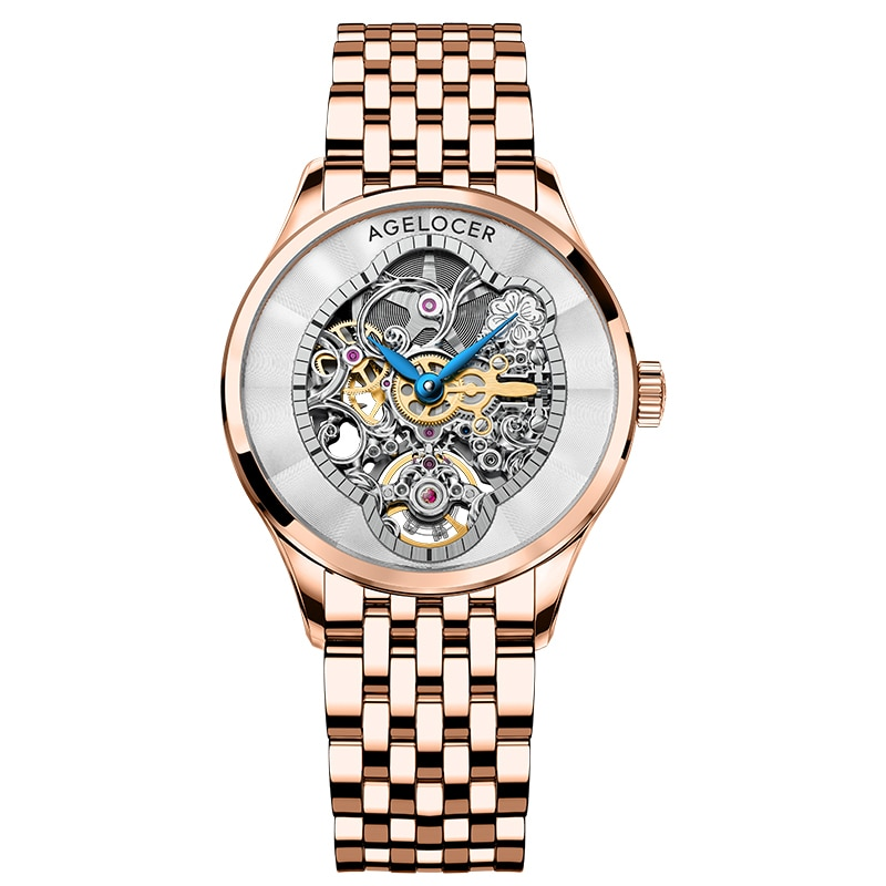 AGELOCER Luxury Women Wristwatch Automatic Mechanical Waterproof Watch Sapphire 316L Steel Rose Gold Watchstrap Lady Watches enlarge