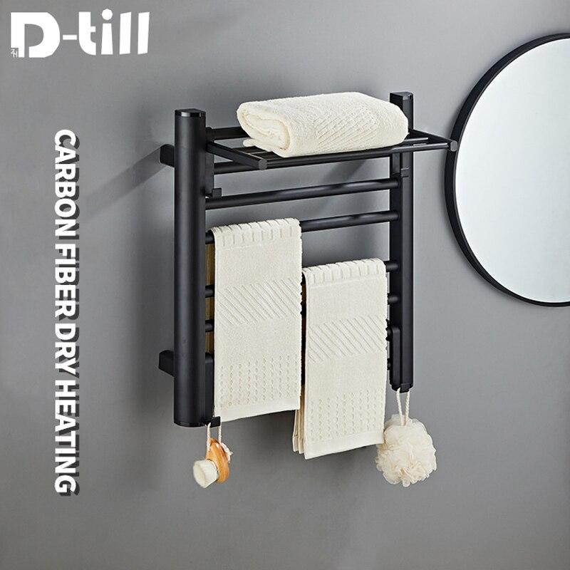 D-حتى منشفة كهربائية رف أسود منشفة بيضاء السكك الحديدية زر واحد بدء 50 واط الطاقة درجة حرارة ثابتة 55 درجة مع السنانير