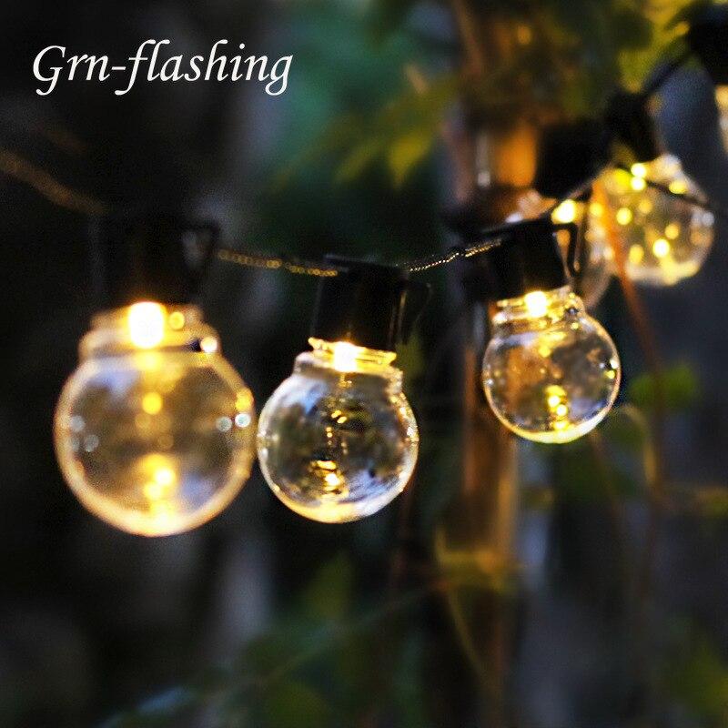 10m 38 LED Bombilla exterior Navidad Hada luz AC 110V 220V globo festón bombilla boda Hada cadena luz fiesta jardín Garland