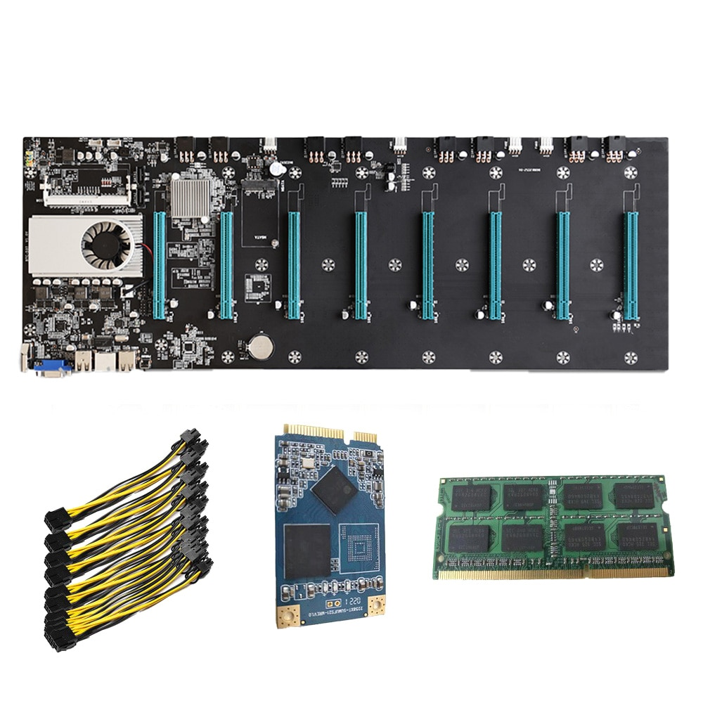 BTC-S37 Riserless Mining Motherboard 8 CPU Bitcoin Crypto Etherum Mining 4GB DDR3 1600MHz RAM 1037U 128GB MSATA SSD Power Cable