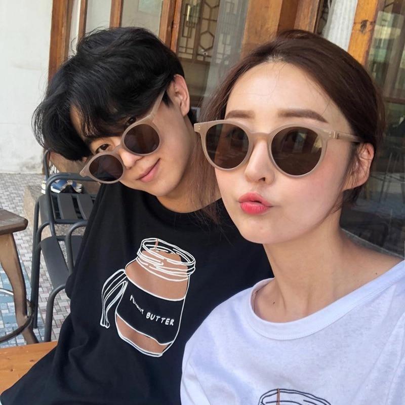 Fashion New Sunglasses Women Brand Designer Round Candy Color Unisex Couple Classic Trendy Retro Sun