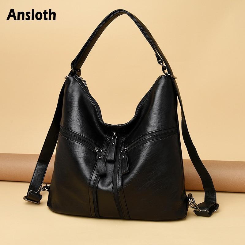 Ansloth Zipper Design Handbag Women Shoulder Messenger Bags For Ladies Hobos Bag Vintage PU Leather Top-handle Bag Casual HPS867